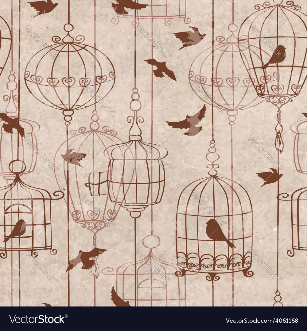 Seamless pattern with birds and cage vector | Price: 1 Credit (USD $1)