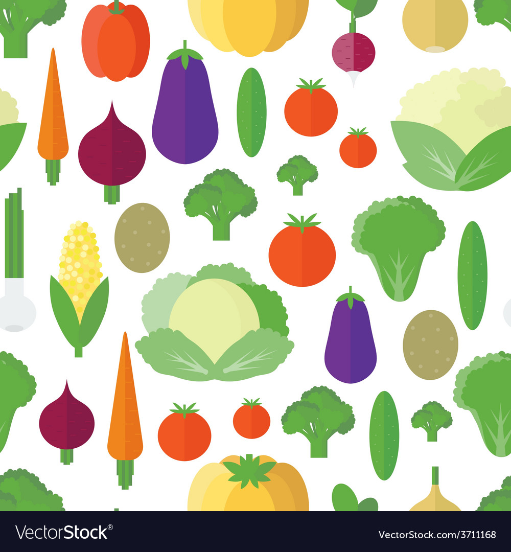 Seamless pattern with vegetables and fruits vector | Price: 1 Credit (USD $1)