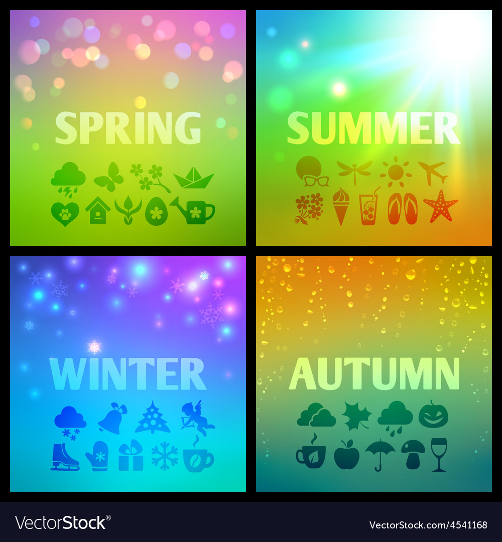 Set of colorful seasons backgound with icons vector