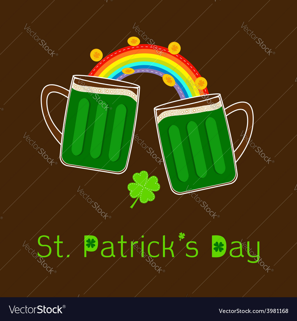 St patricks day two green beer glass rainbow coin vector | Price: 1 Credit (USD $1)
