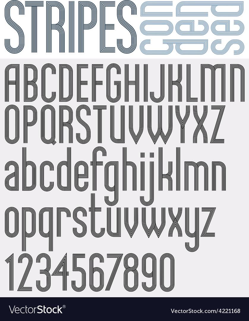 Stripes retro style graphic font vector