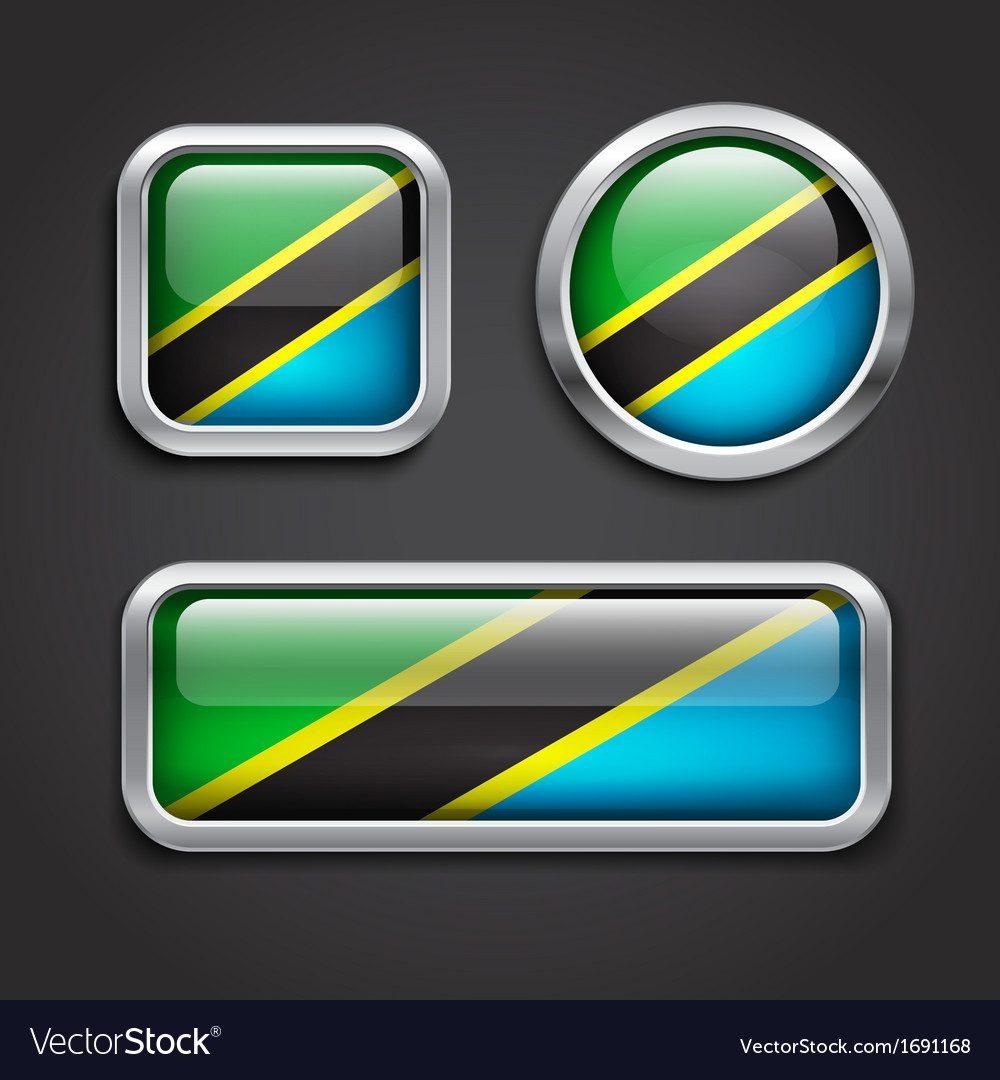 Tanzania flag glass buttons vector | Price: 1 Credit (USD $1)