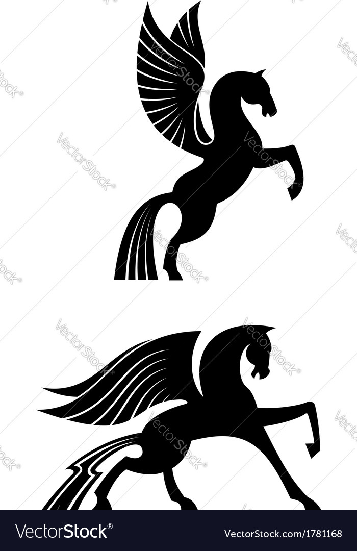 Two black winged horses vector | Price: 1 Credit (USD $1)