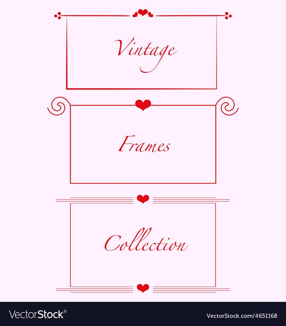 Vintage frames hearts weddind invitations cards vector | Price: 1 Credit (USD $1)