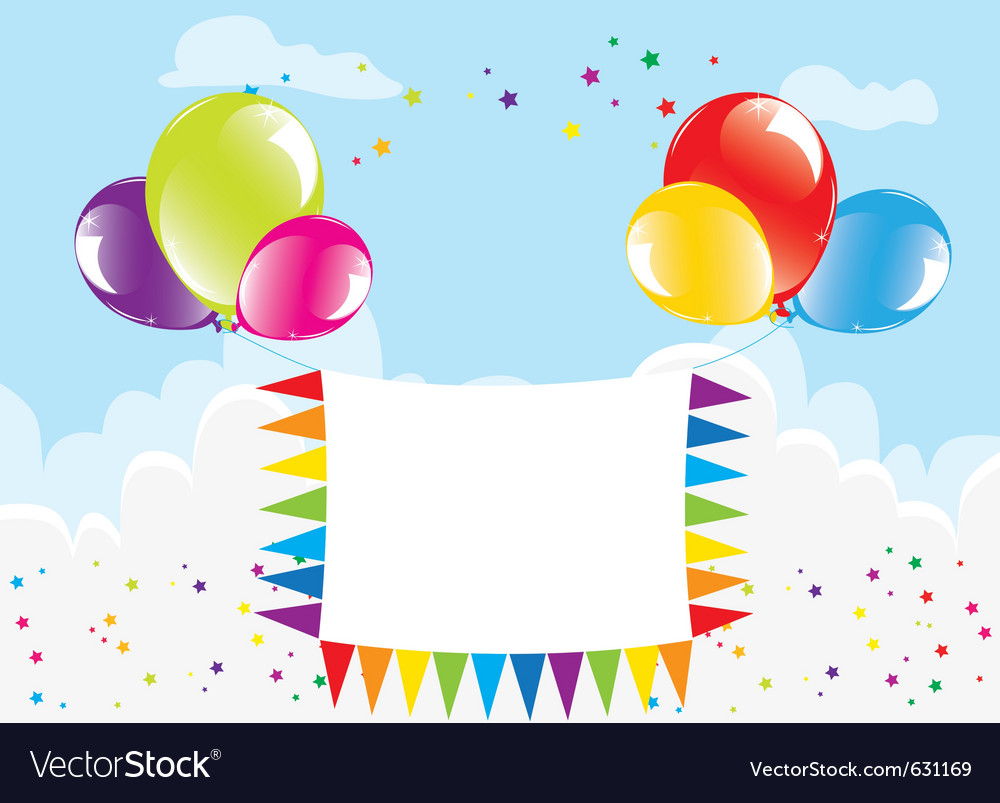 Balloons and banner in the sky vector | Price: 1 Credit (USD $1)