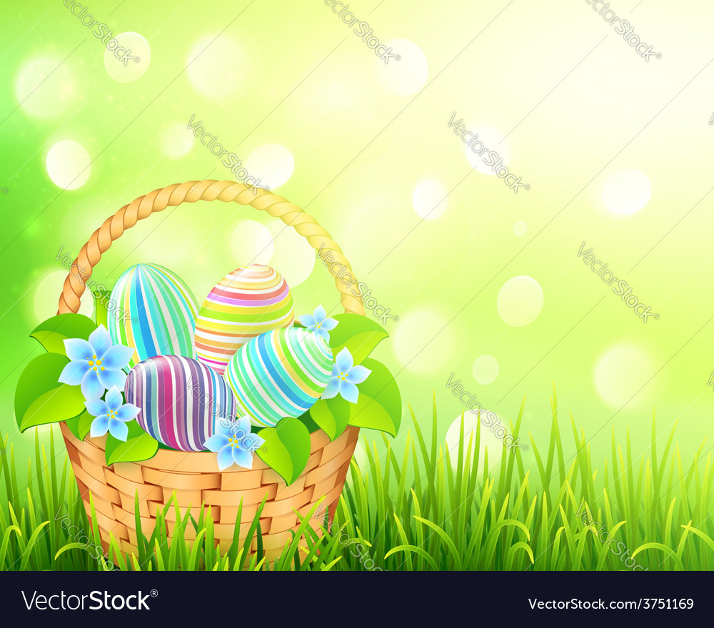 Basket with easter eggs on bokeh light effect vector | Price: 3 Credit (USD $3)
