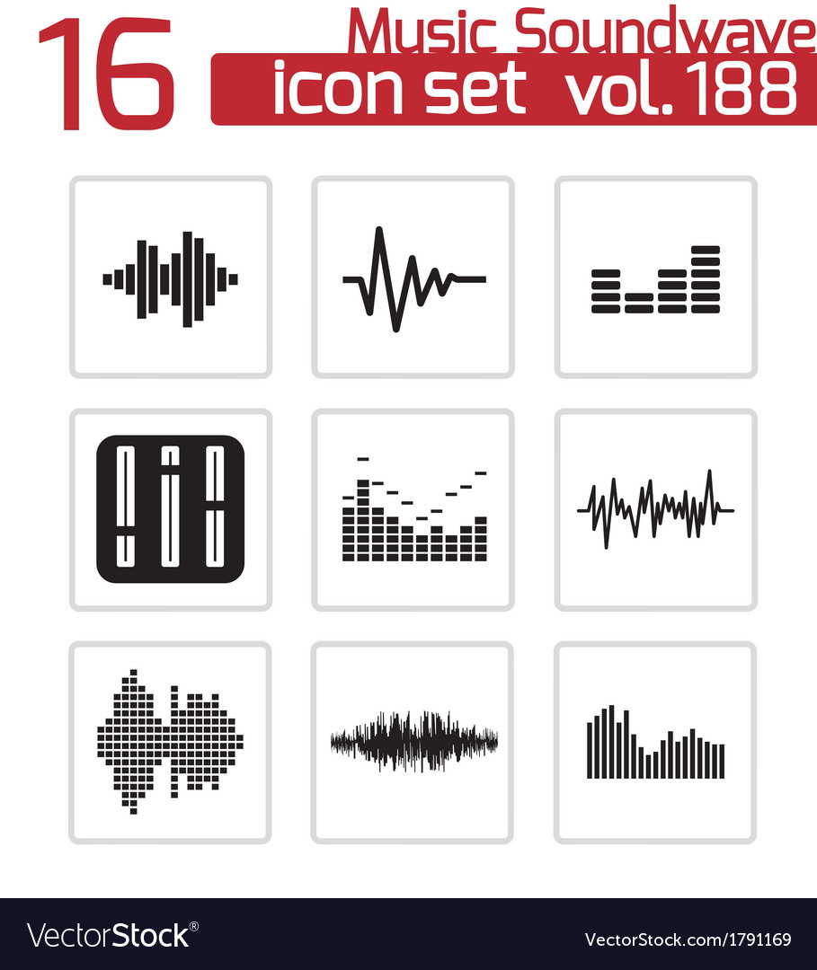 Black music soundwave icons set vector | Price: 1 Credit (USD $1)