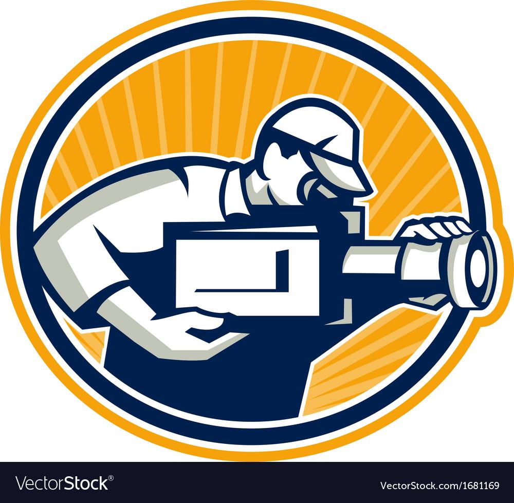 Cameraman shooting movie video camera retro vector | Price: 1 Credit (USD $1)