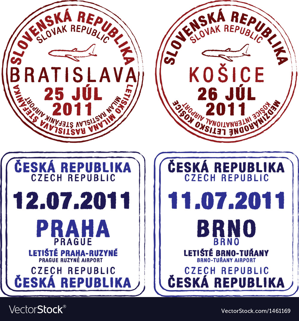 Czecholovakia passport stamps vector | Price: 1 Credit (USD $1)