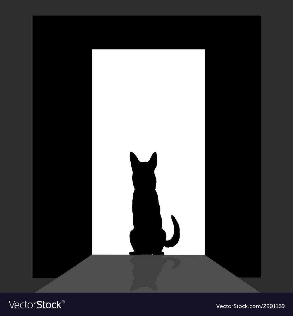 German shepard at the door silhouette vector | Price: 1 Credit (USD $1)