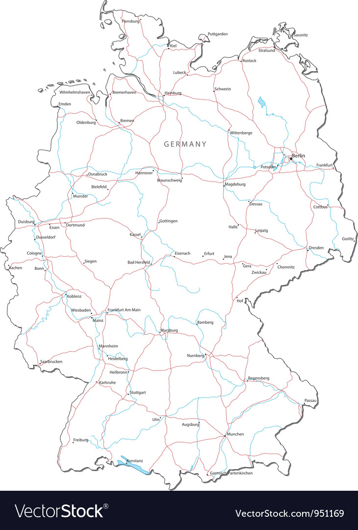 Germany black white map vector | Price: 1 Credit (USD $1)