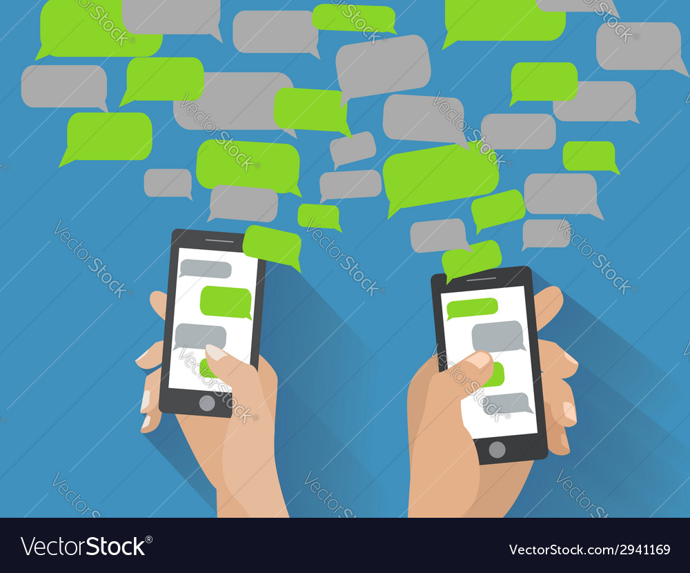Hand holding black smartphone with blank speech vector   Price: 1 Credit (USD $1)