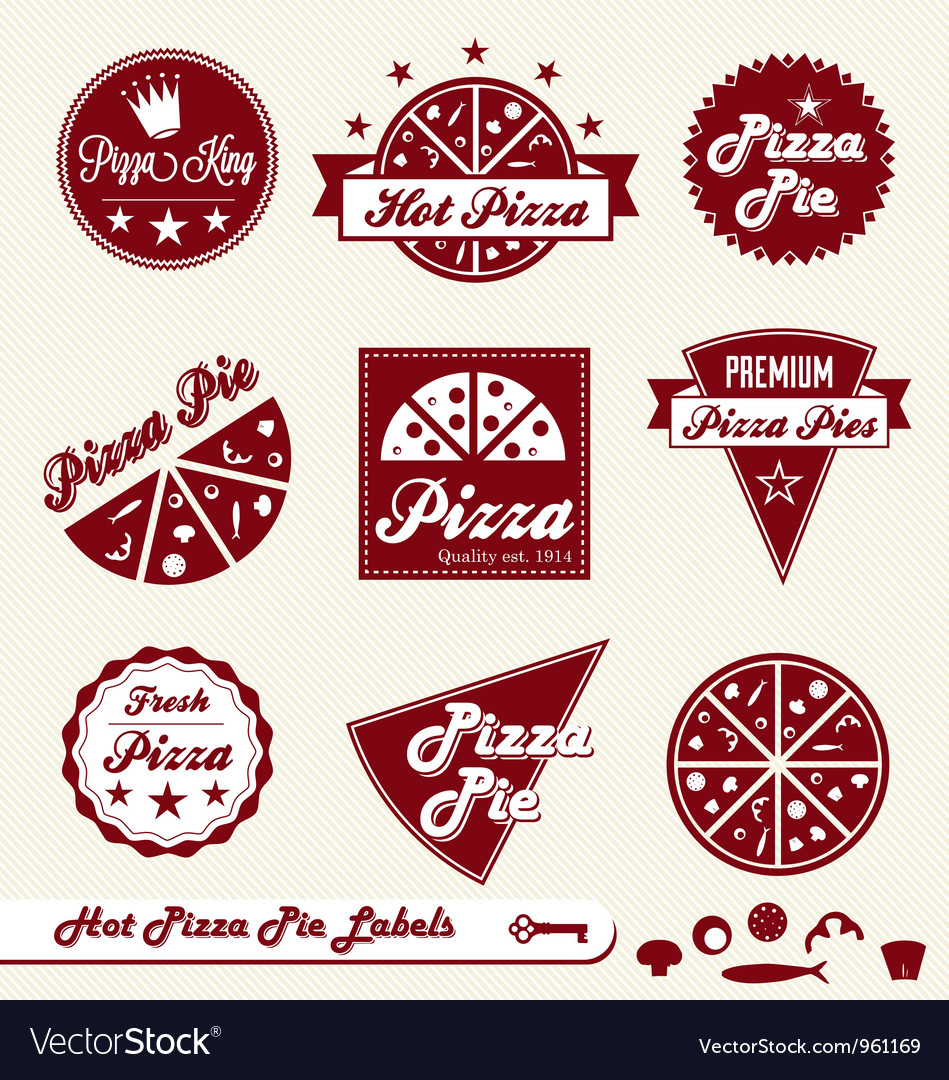 Pizza labels vector | Price: 1 Credit (USD $1)