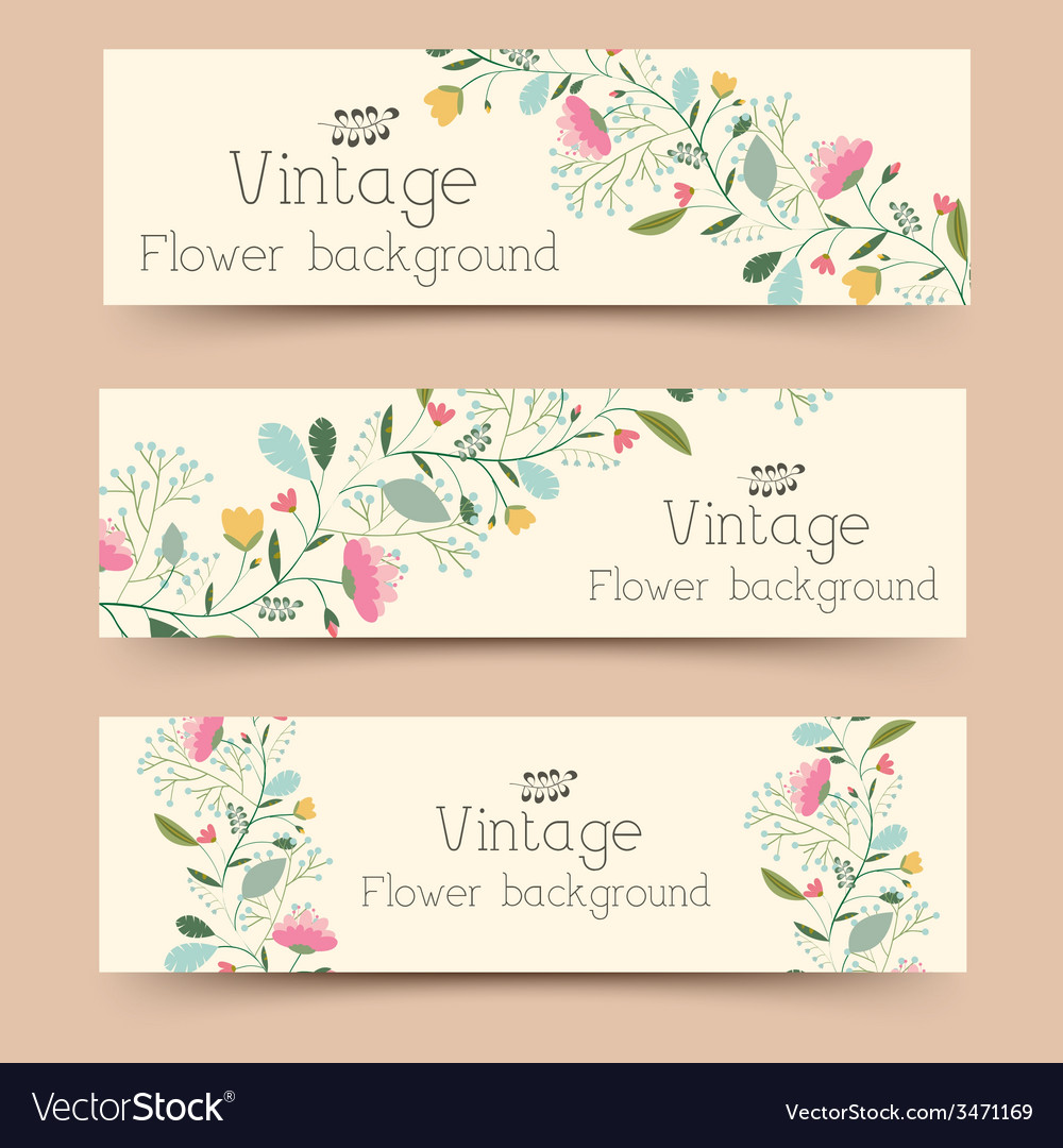 Retro flower banners concept design vector | Price: 1 Credit (USD $1)