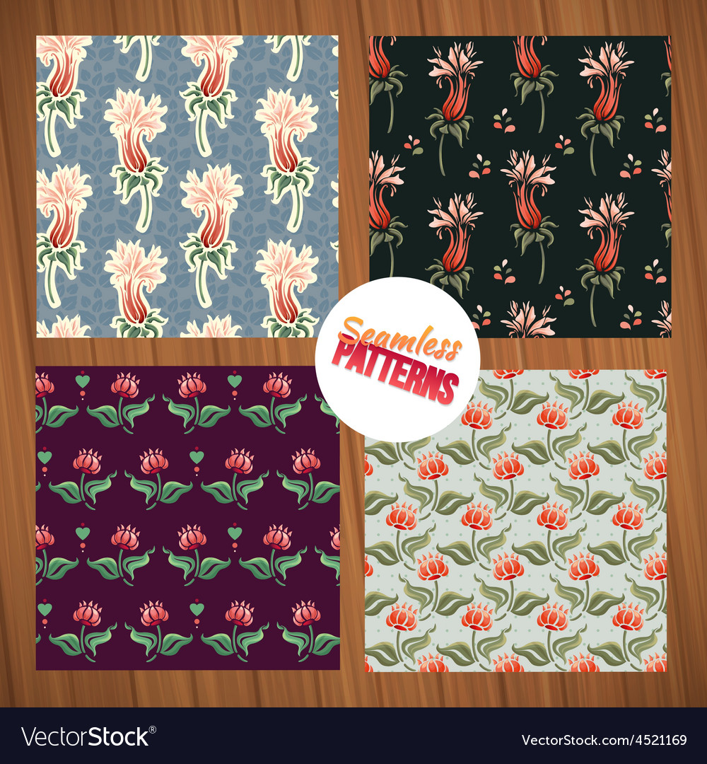 Seamless flower pattern set summer tiny floral vector | Price: 1 Credit (USD $1)