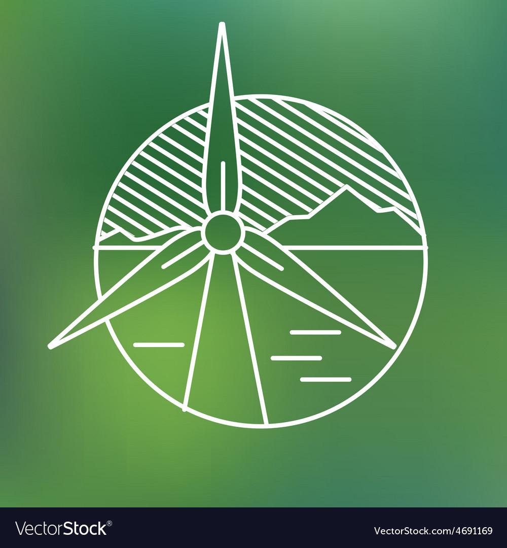 Wind turbine linear icon eco generating vector   Price: 1 Credit (USD $1)