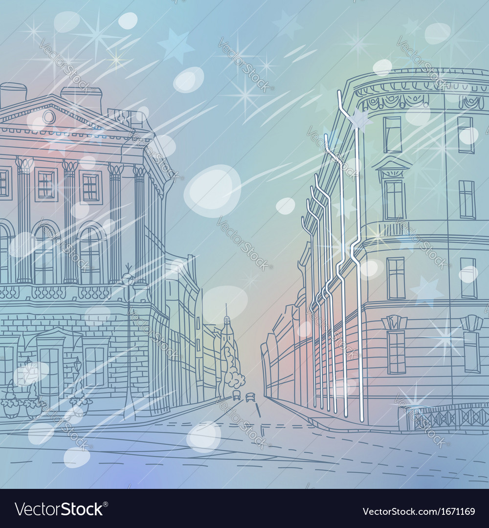 Winter christmas urban landscape the wide avenue vector | Price: 1 Credit (USD $1)