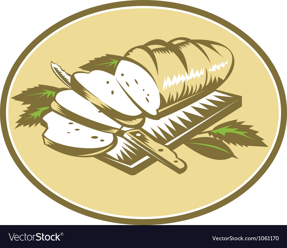 Bread loaf with knife and board woodcut vector | Price: 1 Credit (USD $1)