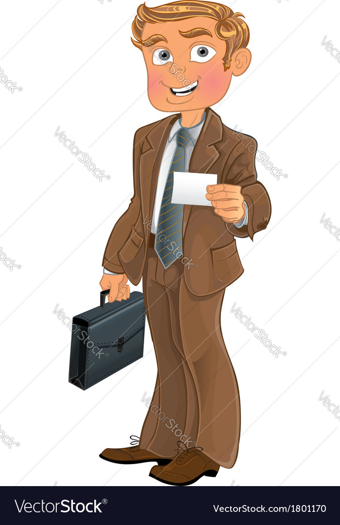 Businessman in brown suit with business card vector | Price: 3 Credit (USD $3)