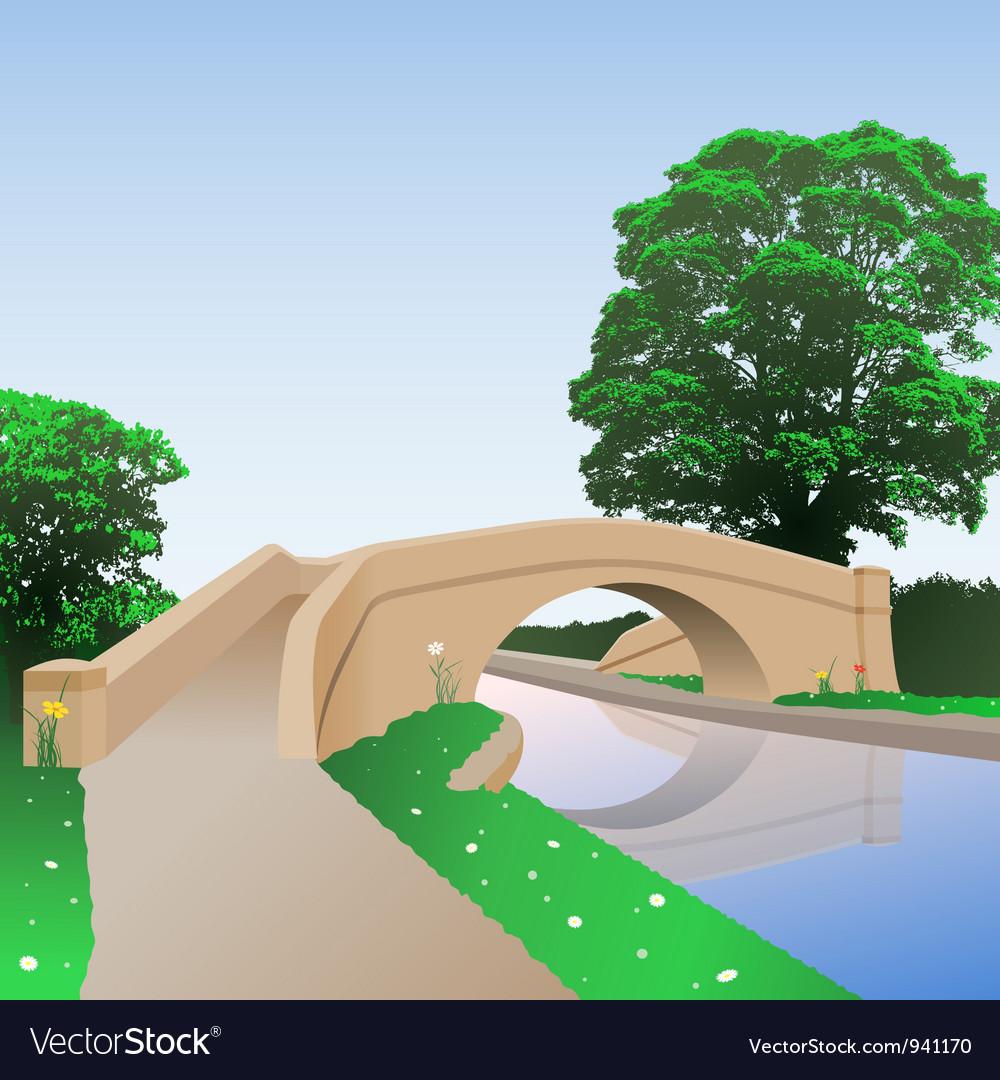 Canal bridge vector | Price: 1 Credit (USD $1)