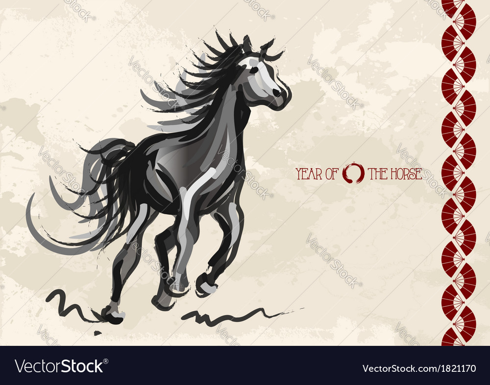 Chinese new year of horse 2014 postcard vector | Price: 1 Credit (USD $1)