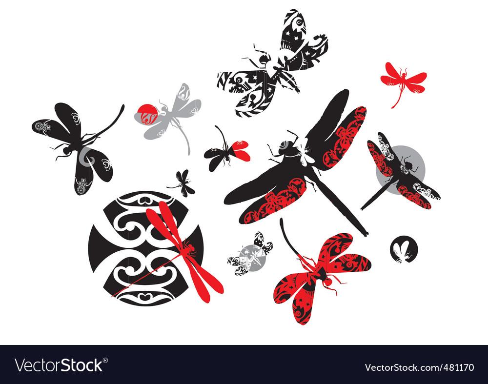 Decorative dragonflies vector | Price: 1 Credit (USD $1)