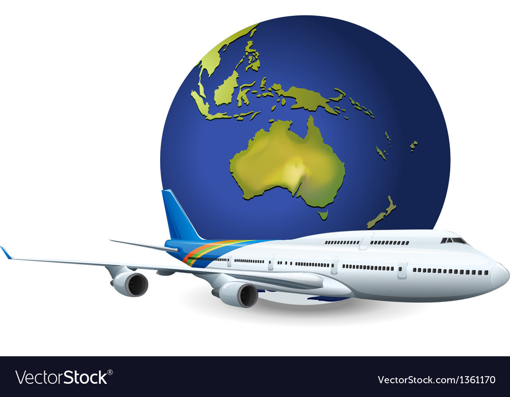 Earth globe airplane vector | Price: 1 Credit (USD $1)