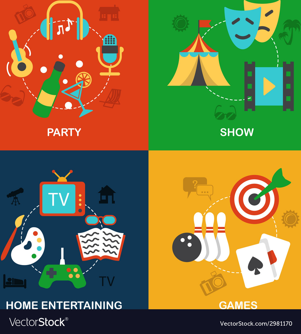 Entertainments icons flat vector | Price: 1 Credit (USD $1)