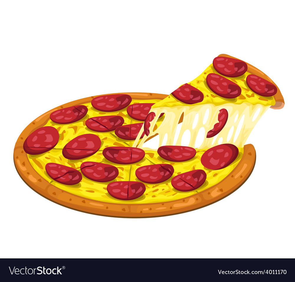 Pizza hawaiian slice vector | Price: 1 Credit (USD $1)