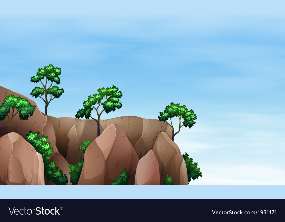 A cliff with trees vector | Price: 1 Credit (USD $1)