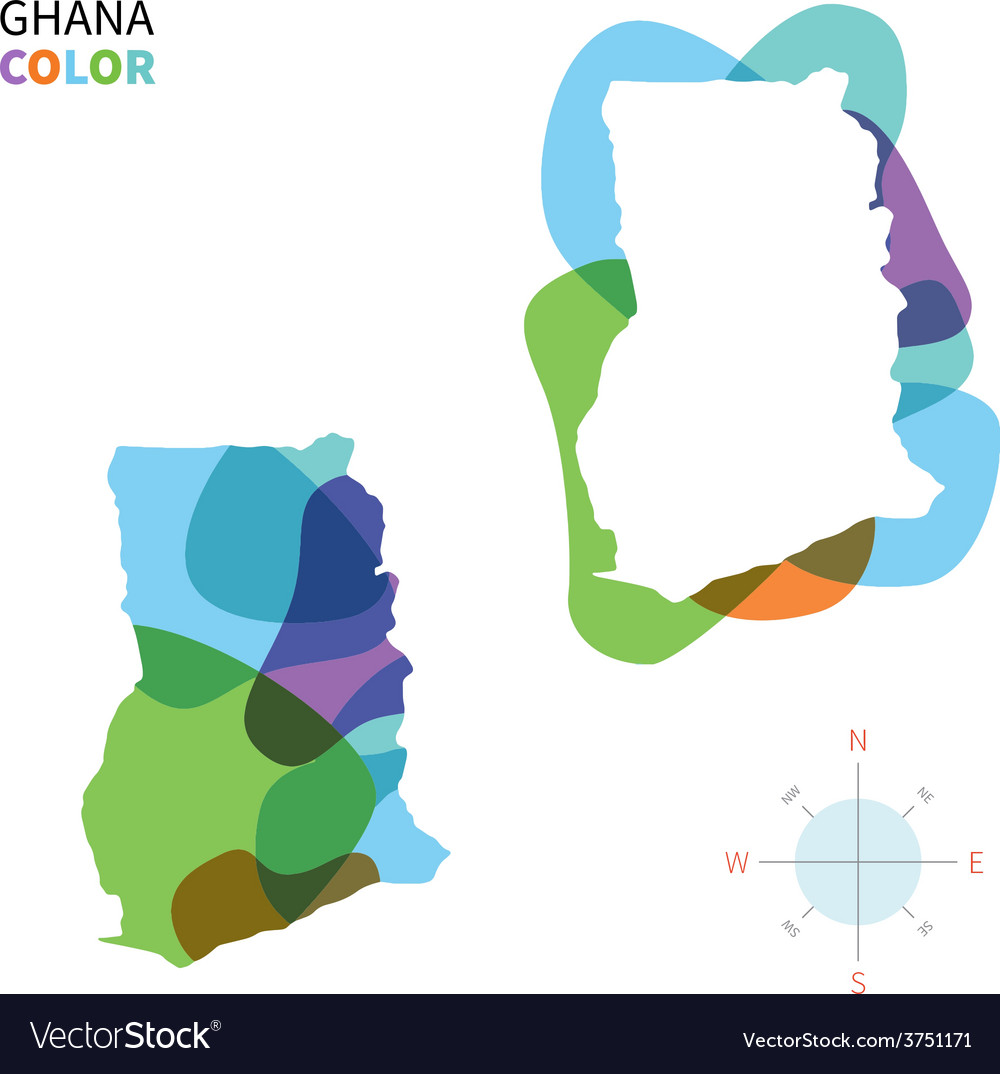 Abstract color map of ghana vector | Price: 1 Credit (USD $1)
