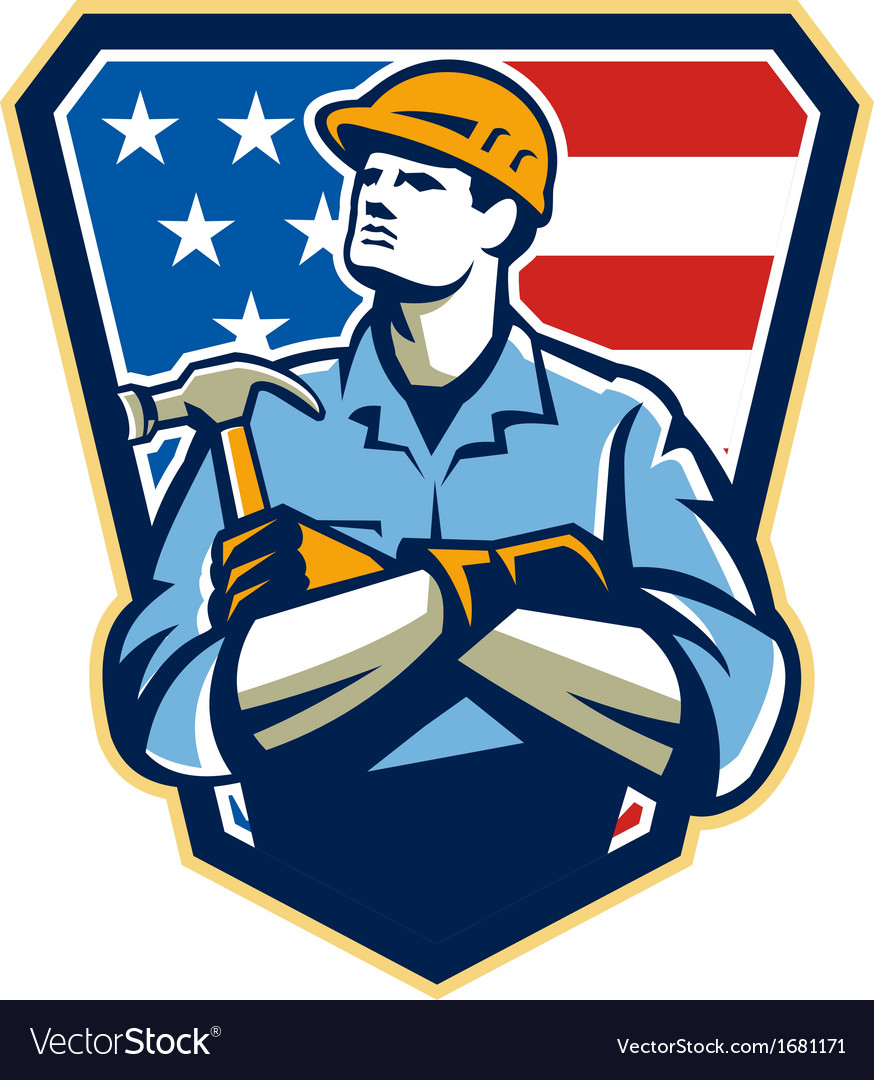 American builder carpenter hammer crest retro vector | Price: 1 Credit (USD $1)