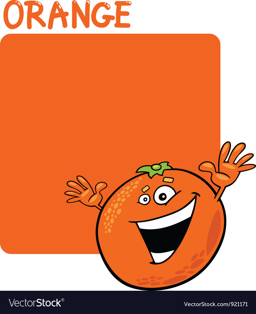 Color orange and orange fruit cartoon vector | Price: 1 Credit (USD $1)