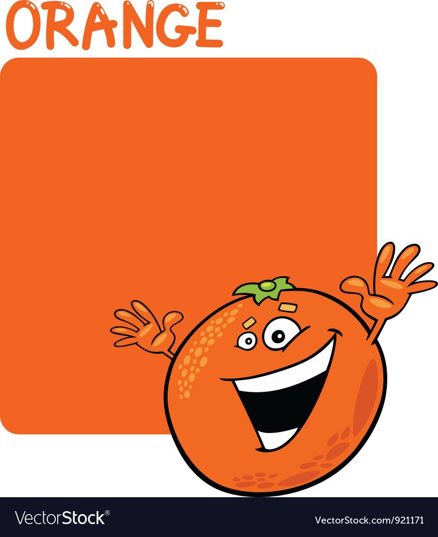 Color orange and orange fruit cartoon vector | Price: 1 Credit (USD $1)