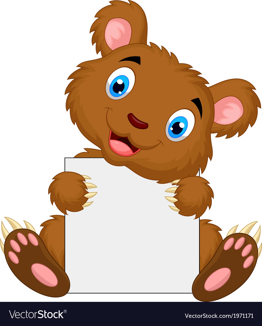 Cute brown bear cartoon holding blank sign vector | Price: 1 Credit (USD $1)