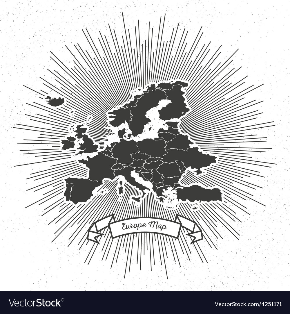 Europe map with vintage style star burst retro vector | Price: 1 Credit (USD $1)
