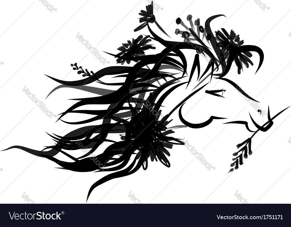 Horse floral head for your design symbol of 2014 vector   Price: 1 Credit (USD $1)