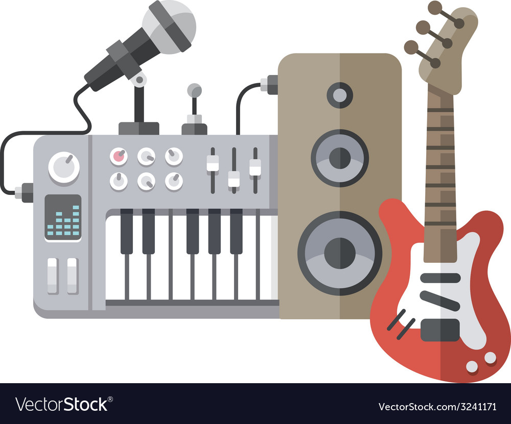 Music equipment flat style vector | Price: 1 Credit (USD $1)
