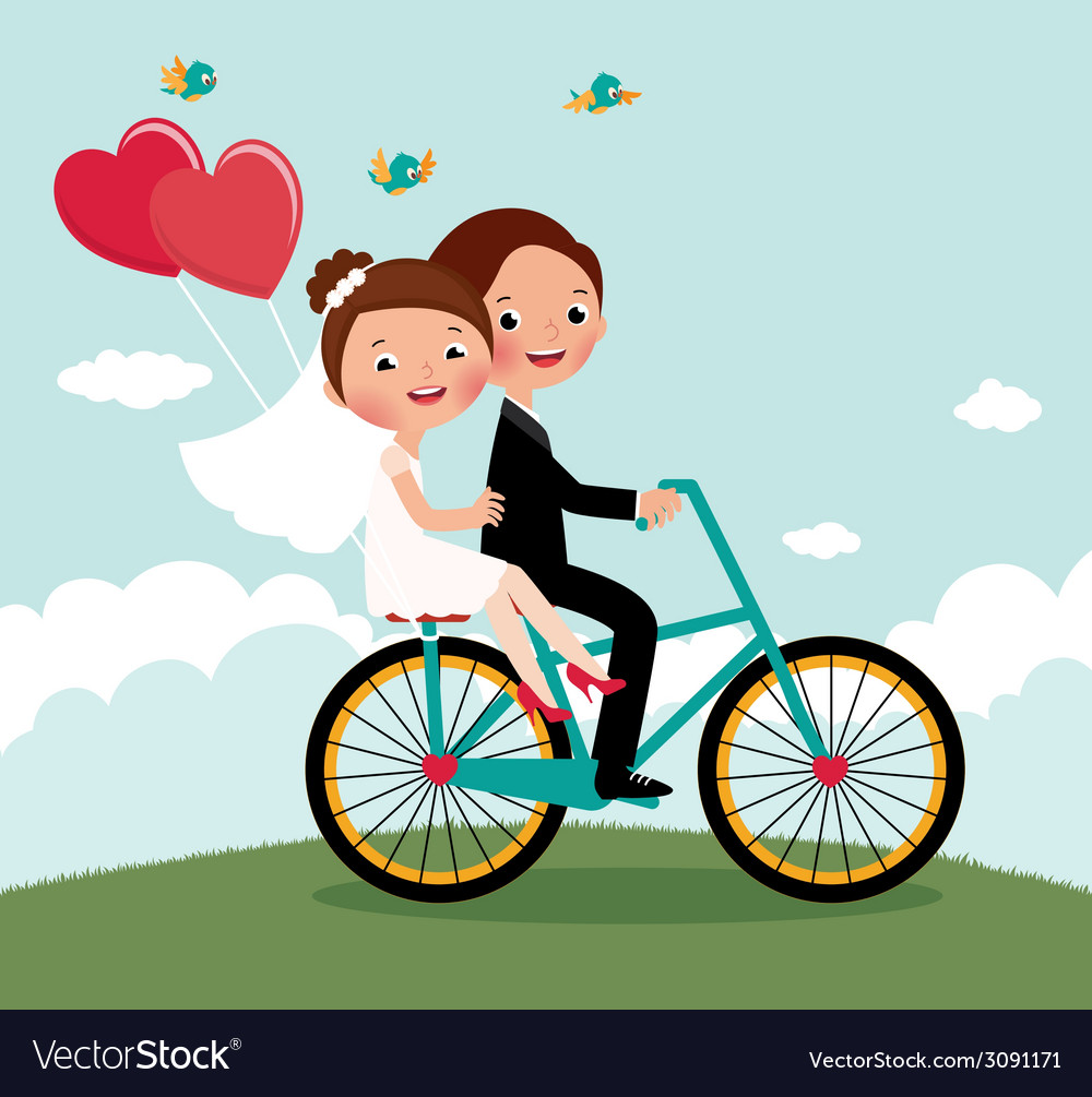 Newlyweds bike vector | Price: 1 Credit (USD $1)