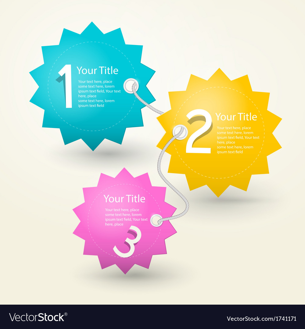 One two three colorful paper progress steps for tu vector | Price: 1 Credit (USD $1)