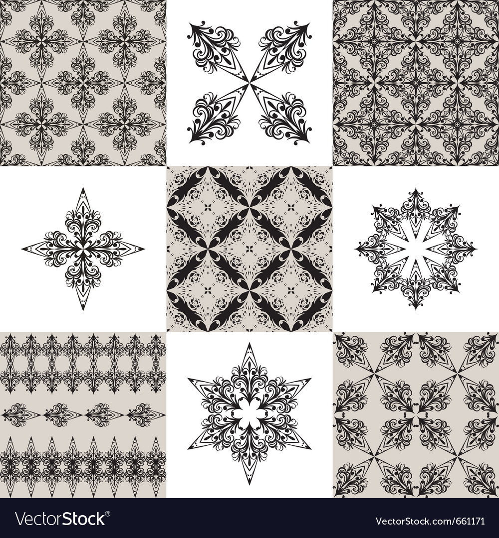 Seamless vintage patterns and their elements vector | Price: 1 Credit (USD $1)