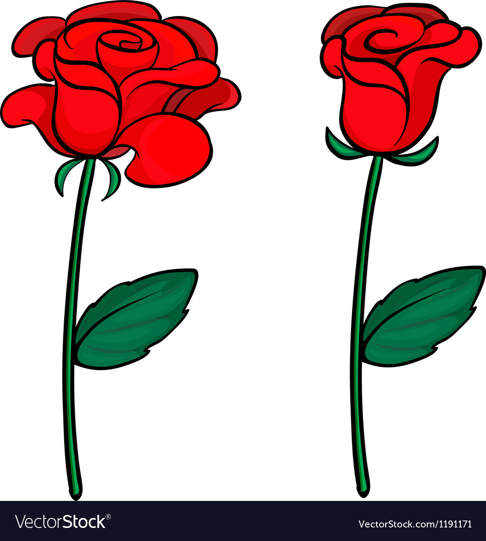 Two red roses vector | Price: 1 Credit (USD $1)