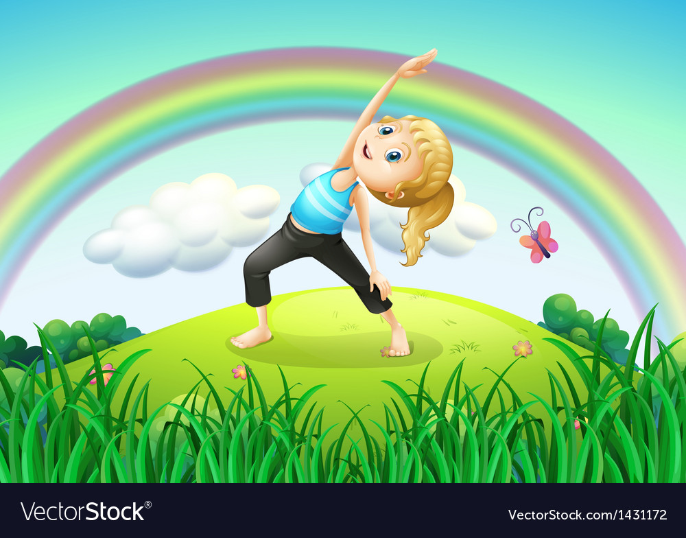 A girl stretching at the top of the hill with a vector | Price: 1 Credit (USD $1)
