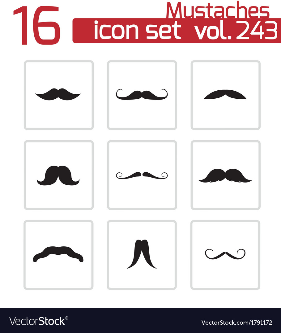 Black mustaches icons set vector | Price: 1 Credit (USD $1)