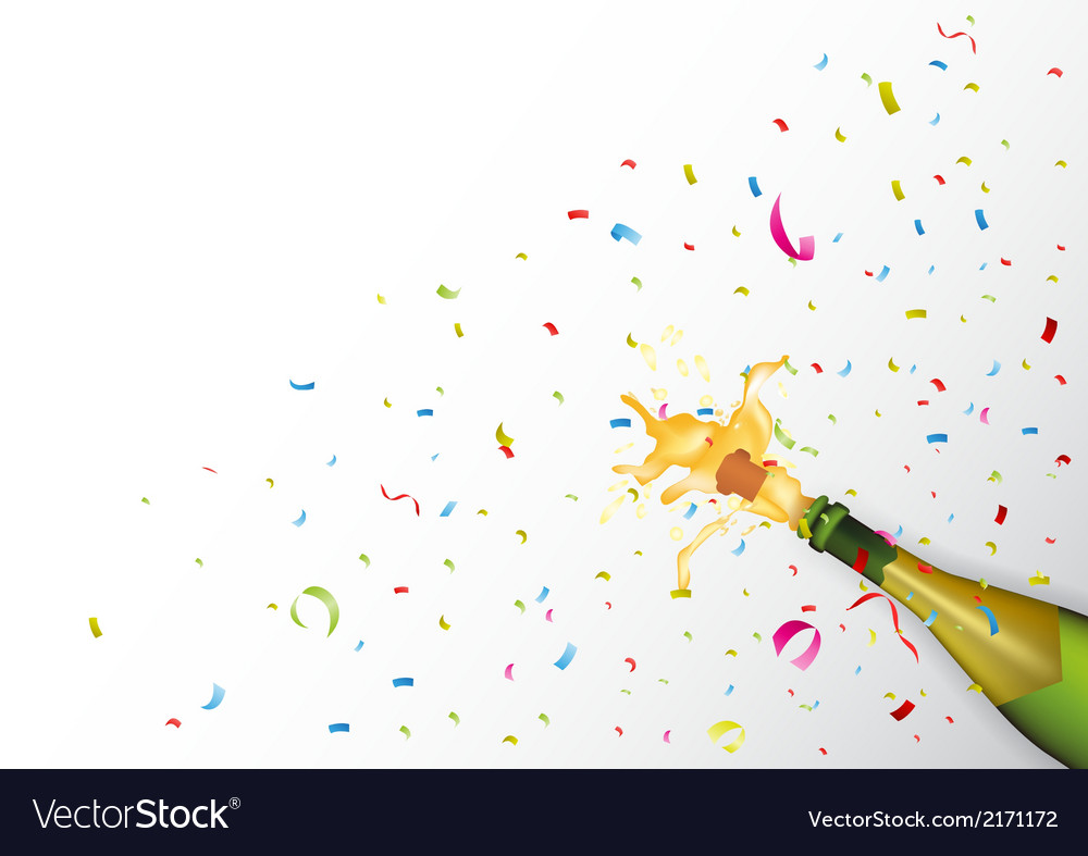 Champagne explosion with ribbon and confetti vector | Price: 1 Credit (USD $1)