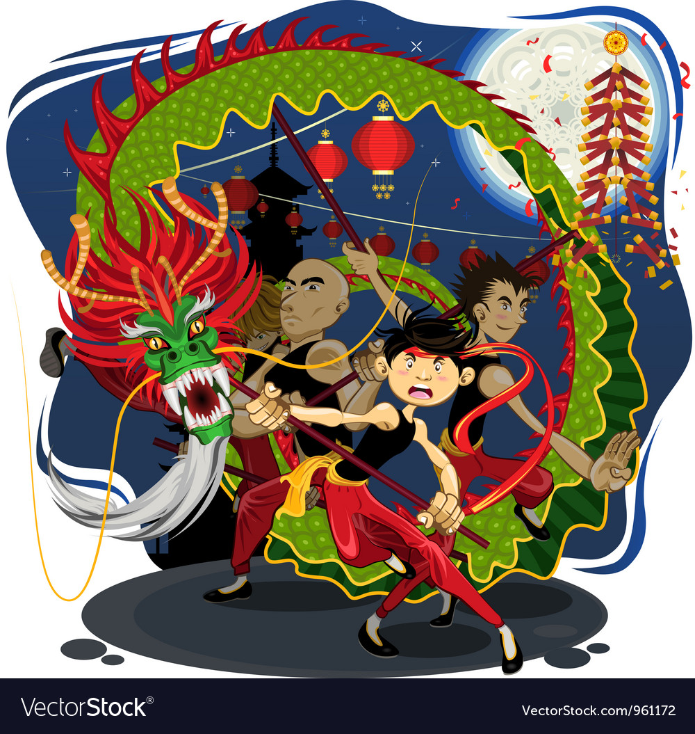 Chinese new year dragon dance vector | Price: 5 Credit (USD $5)