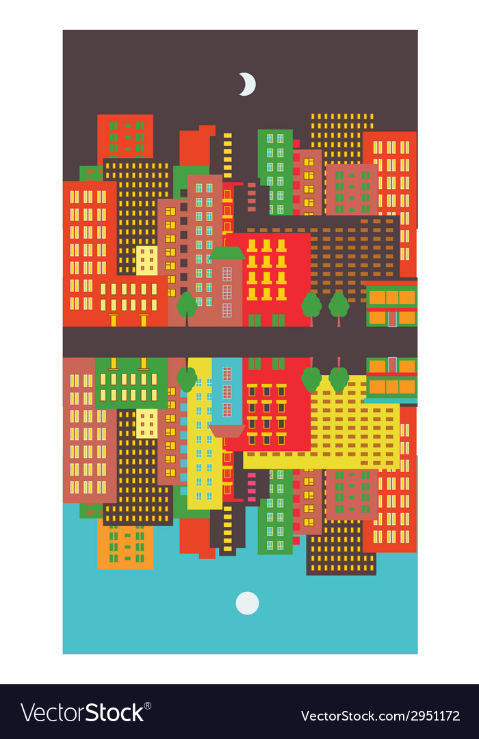 Cityscape day and night vector | Price: 1 Credit (USD $1)