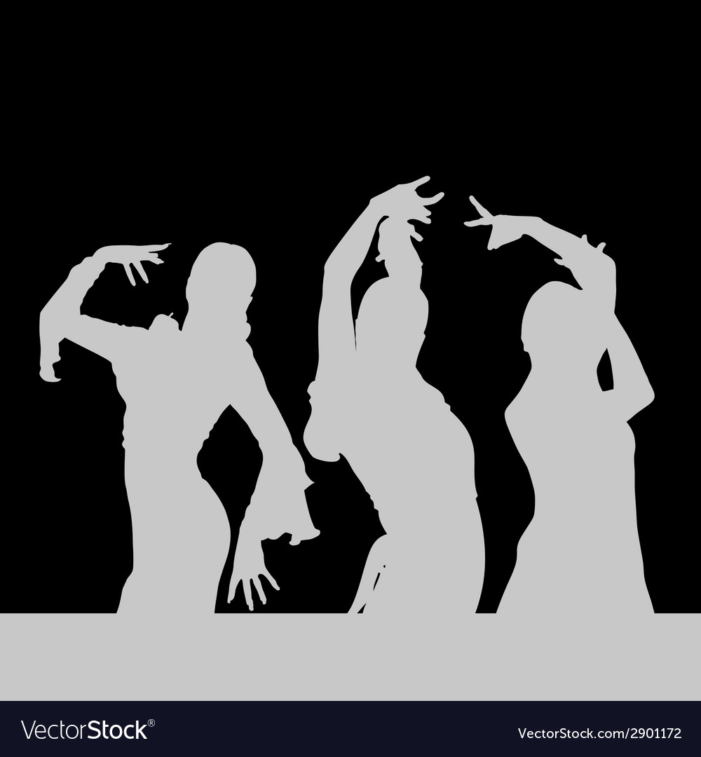 Flamenco dance girl silhouette on black vector | Price: 1 Credit (USD $1)
