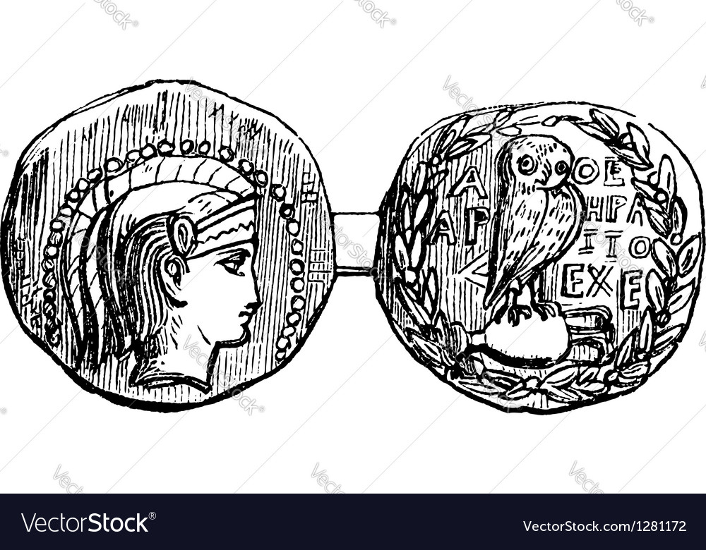 Greek silver coin vector | Price: 1 Credit (USD $1)
