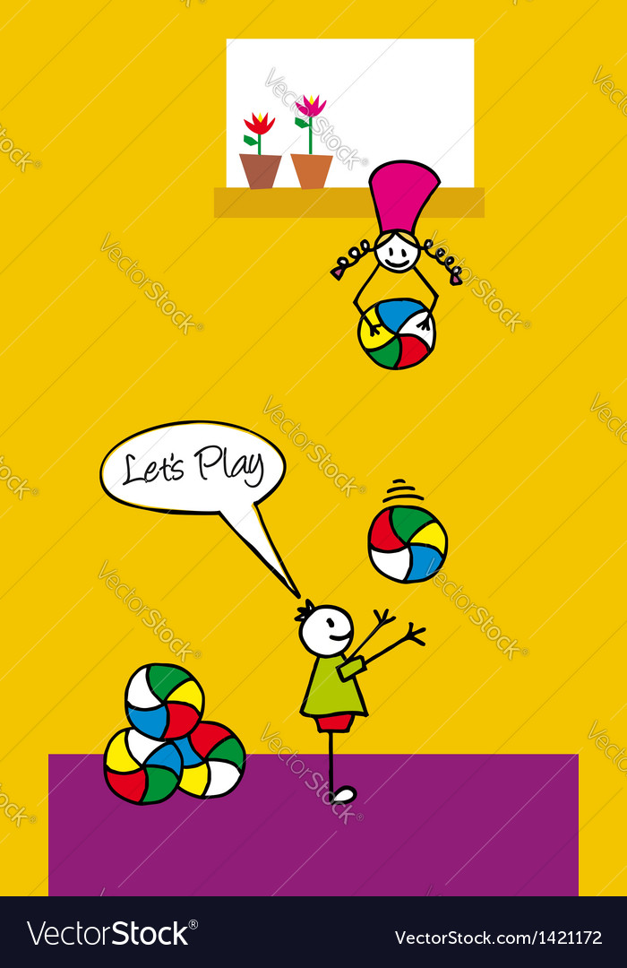 Kids playing with balls in the backyard vector | Price: 1 Credit (USD $1)